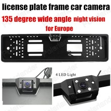 Free shipping 4LED HD CCD Universal European Car License Plate Frame Rear view camera 135 degree wide angle