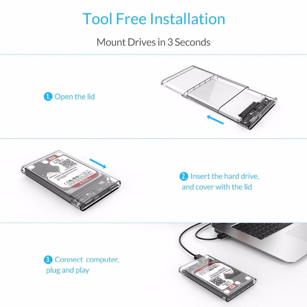 NEWLY Transparent 2.5 inch USB 3.0 External Hard Drive Enclosure Case SATA HDD