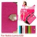 Cubierta de cuero, el Bling cartera Case para Lumia 630 635 N630 N635 bolso del teléfono Flip Rhinestone con ranura para tarjeta ( Xkm )