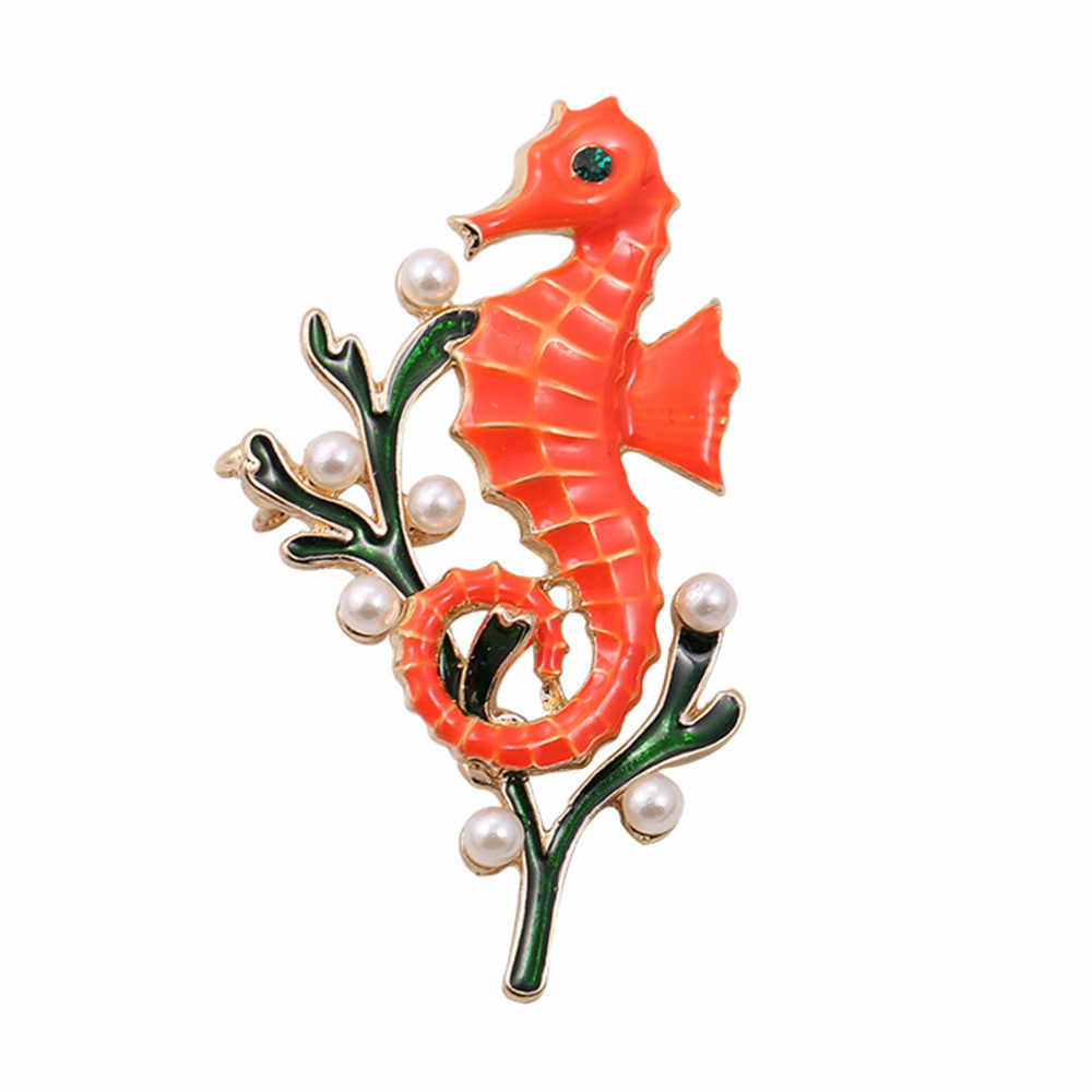 XQ Free shipping The new pearl drop glaze enamel seahorse brooch ocean elements