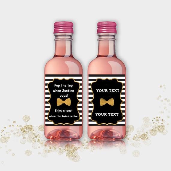 Mini Wine Bottle Labels Bridal Shower, Customized Wedding Black-White & Gold, Bow Tie, Mini Wine Bottle Labels Wedding