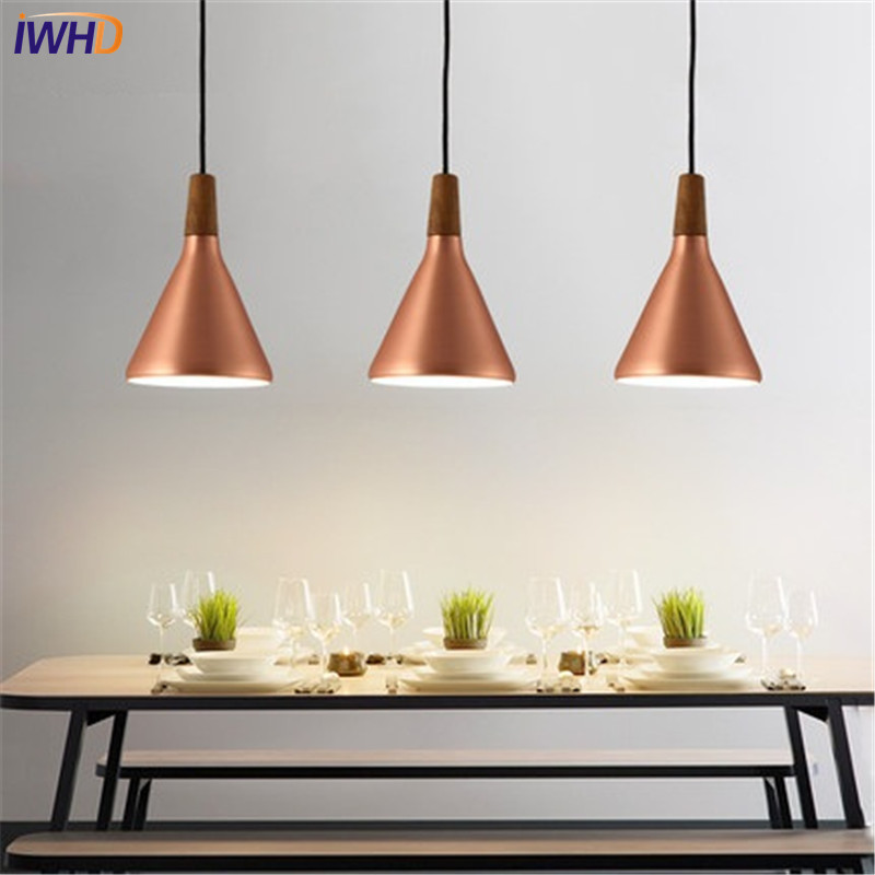 IWHD Modern Simple Style Droplight Creative Iron LED Pendant Light Fixtures Dining Room Wood Hanging Lamp Indoor Lighting iwhd loft style simple iron led pendant light fixtures creative modern hanging lamp dining room droplight indoor lighting