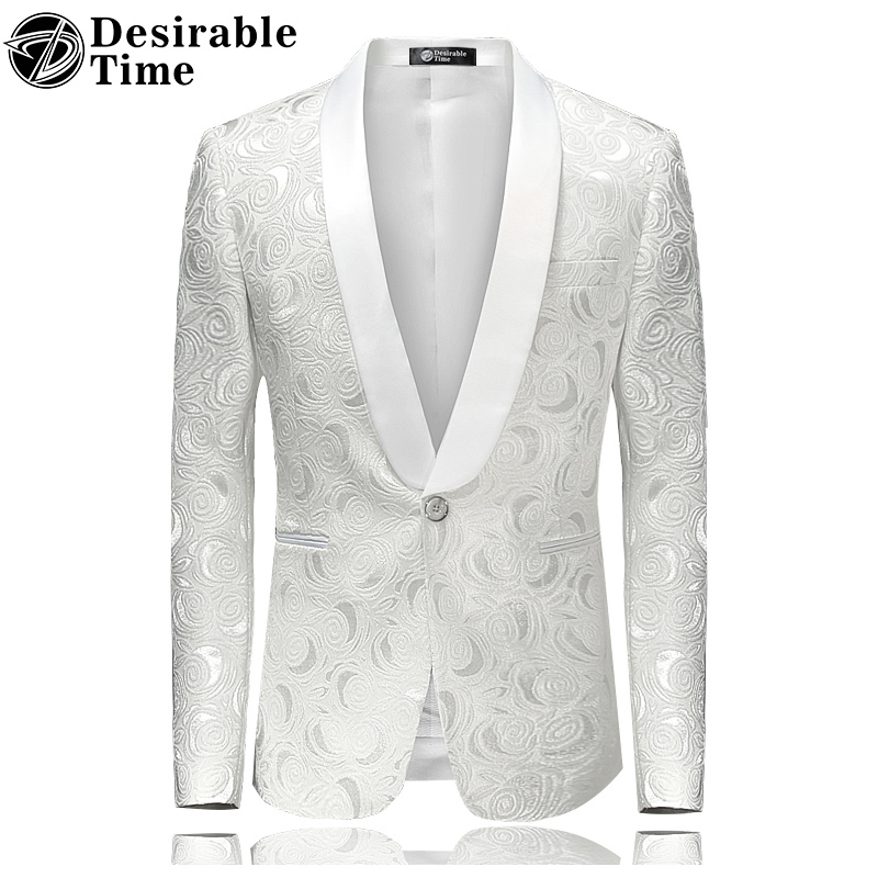 Mens Floral Printed Blazer Jacket Stage Costumes for Singers 2017 Fashion Shawl Collar Men Slim Fit
