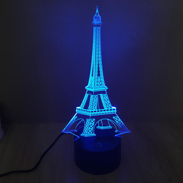 Free Shipping fantastic design 3D the eiffel Tower shape creative night  Light  lamp Atmosphere Emotion Light as Home Decoration