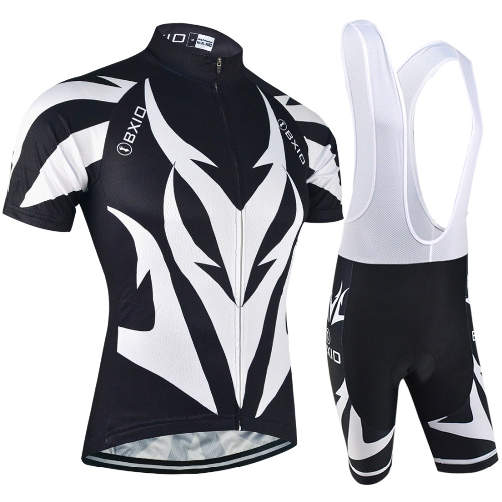 BXIO Summer Pro Cycling Clothing Cool Short Sleeve Bicycle Jersey Sets Mountain Black Bike Wear For Men Ropa Ciclismo 107
