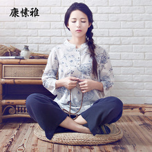 Women's Cotton Linen Mixed Clothes Yoga Clothes Suit Zen Buddhist Breathable Clothing Kongfu Taiji Home Sports Set K928