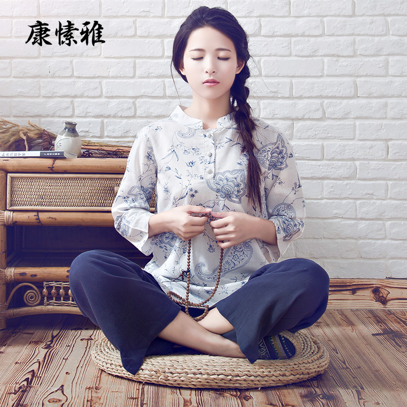 Women's Cotton Linen Mixed Clothes Yoga Clothes Suit Zen Buddhist Breathable Clothing Kongfu Taiji Home Sports Set K928 brand 2016 spring summer yoga clothing set cotton linen meditation clothes high quality women buddhist set sports suits kk395 20