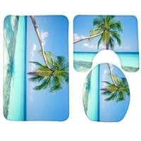 3pcs Bathroom Mat Set Beach Blue Sea Alm Tree Pattern Bath Mat Anti Slip Toilet Mat