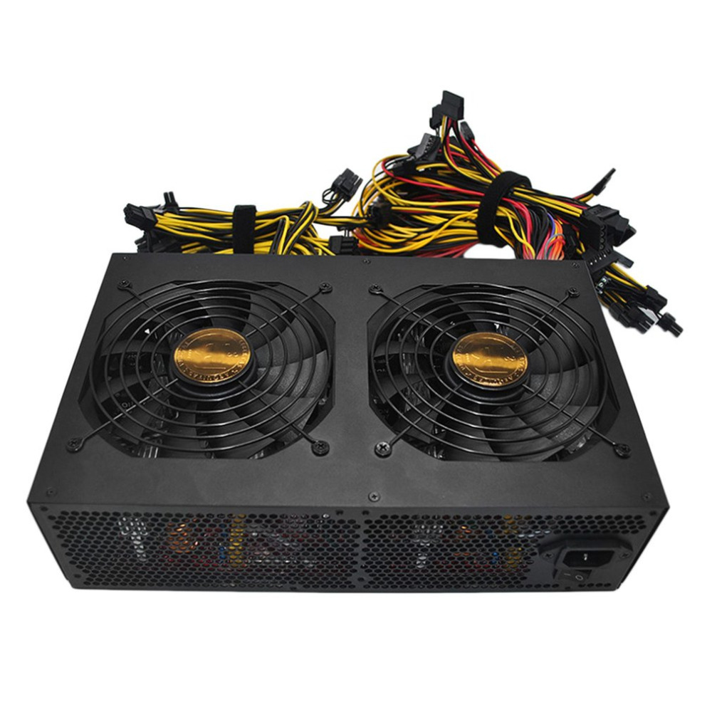 Rendement élevé de rendement élevé de Machine d'extraction de Bitcoin évalué 3450 W alimentation Active de PFC avec 14 CM ventilateurs à faible bruit de refroidissement pour la Machine d'extraction de Bitcoin