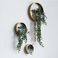 Creative Iron Wall Vase Home Living Room Modern Scenery Decoration Plant Pendant Flower Pot Artificial Flower Round Vases Gifts