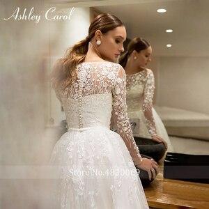 Image 3 - Ashley Carol Chữ A Áo Cưới 2020 Tay Dài Đi Biển Muỗng Lãng Mạn Đính Hạt Appliques Công Chúa Cô Dâu Đồ Bầu Đầm Vestido De Noiva