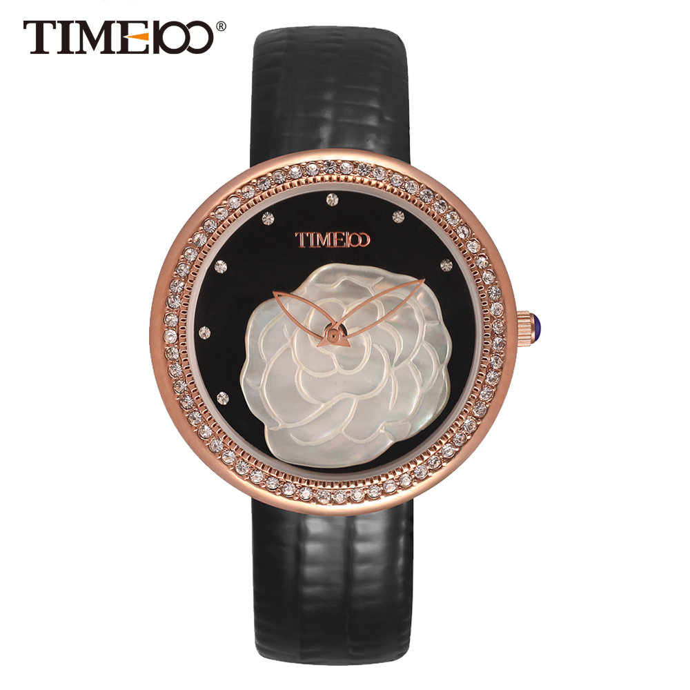 ФОТО Time100 Fashion Women's Watches Black Leather Strap Quartz Watches Diamond Shell Big Dial Ladies Wrist Watch relogios feminino