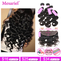 Mesariel Body Wave 2 3 Bundles With Frontal Closure Free Part Brazilian Human Hair Weave Frontal With Bundles Non Remy Hair