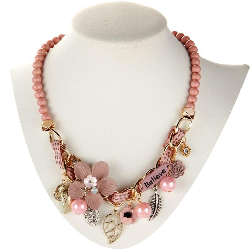 2019 nouveau collier de mode collier fleur colliers et pendentifs à la mode tour de cou grosse chaîne en métal déclaration collier de perles simulées 3