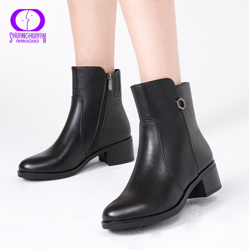 AIMEIGAO 2018 New Arrivals Soft Leather Ankle Boots Women Comfortable Mid Heels Boots For Ladies Spring Autumn Women Shoes