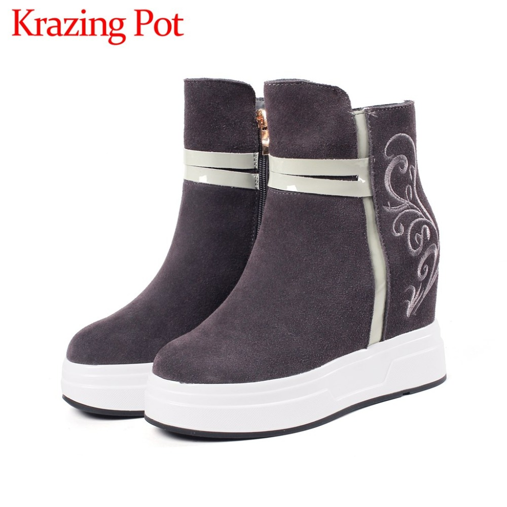 New arrival genuine leather solid oriental embroidery platform solid zip round toe super high heels mature woman ankle boots L03New arrival genuine leather solid oriental embroidery platform solid zip round toe super high heels mature woman ankle boots L03