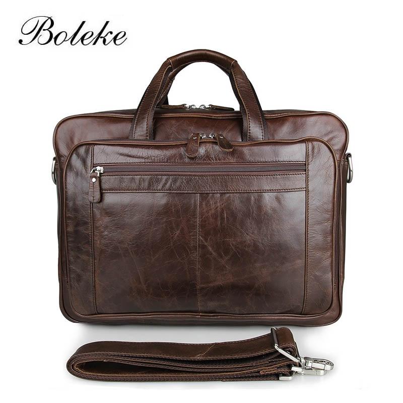High Quality Men Oil Waxing Genuine Leather Handbag 17inch Laptop Briefcase Portfolio Vintage Messenger Shoulder Bag Man 7320