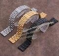 Substituição Pulseira straps 20mm Prata Ouro pulseiras Pretas para os homens de aço inoxidável relógios De Alta qualidade 7 contas entrega rápida