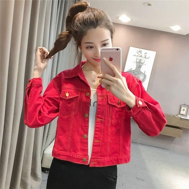 Korea Fashion Spring Autumn Winter Loose Cotton Women Red Denim