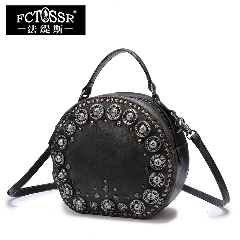 Leather Handbags Small Shoulder Bags Women Vintage Gneuine Leather Handmade Bags Rivet Messenger Crossbody Bags 2018 women bags handmade genuine leather small messenger crossbody bags embossed leather shoulder women bags day clutches