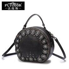 Leder Handtaschen Kleine Umhängetaschen Frauen Vintage Gneuine Leder Handgefertigte Taschen Niet Messenger Crossbody Taschen