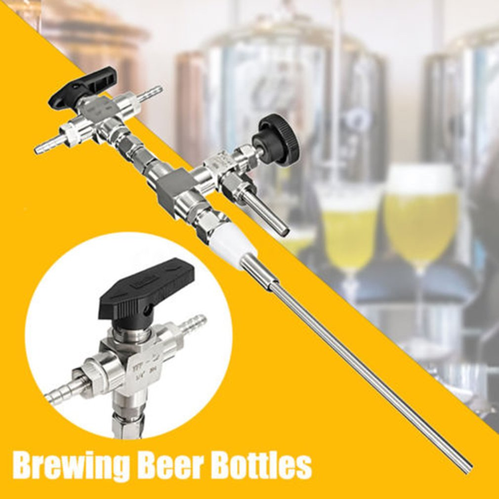 304 Stainless Steel Counter Pressure Beer Bottle Filler 3 Way Hose Kit For Homebrewing Beer Home Brew co2 Gun Bottling Equipment stainless steel counter pressure beer bottle filler home brew co2 beer brewing beer bottle filler