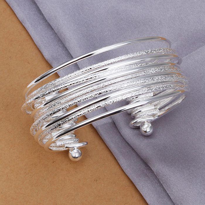 426c7931c441 € 3.88 10% de DESCUENTO Plata fina plateada brazalete 925 Sterling Silver  multi línea pulseras brazaletes para las mujeres hombres SK194 en ...