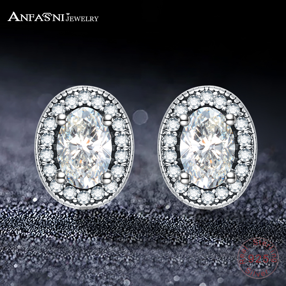 ANFASNI Natural 925 Sterling Silver Earings Big Round Zircon Fine Jewelry Earring For Women Wedding Party Gifts PSER0120-B
