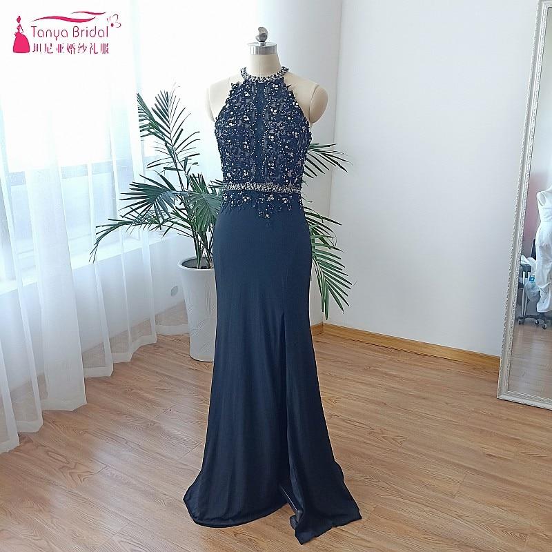 Col haut noir dentelle robes de soirée avec Stretch longue formelle robe de soirée femmes dame Occasion spéciale robe vraies Photos DQG466