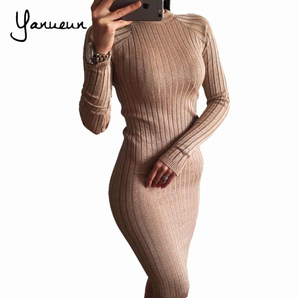 Yanueun Fashion Women Knitted Lurex Dress Autumn Winter 2017 Bodycon Sweater Dresses Long Sleeve Pencil Midi Dress For Women