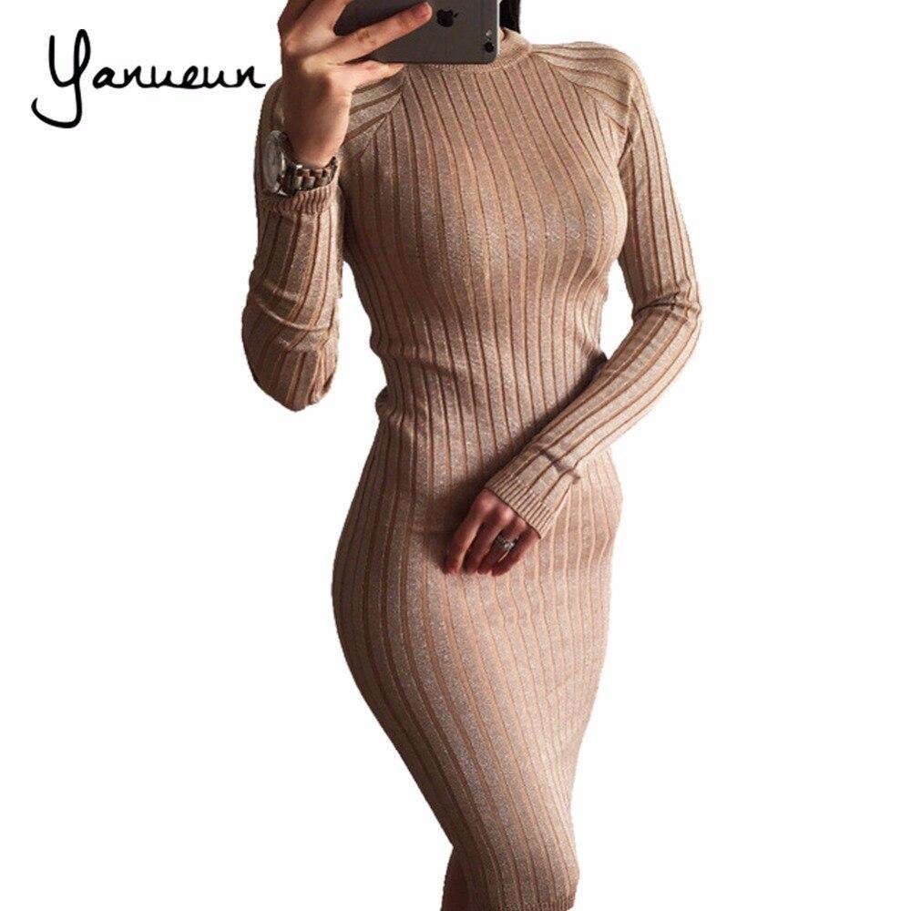 Yanueun Fashion Women Knitted Lurex Dress Autumn Winter 2017 Bodycon Sweater Dresses Long Sleeve Pencil Midi Dress For Women