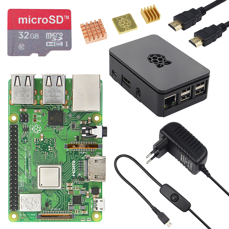 Neue Original UK Raspberry Pi 3 Modell B + Kit + Fall + 16 32G SD Karte + 3A power Adapter + HDMI Kabel + Kühlkörper RPI 3 B Plus