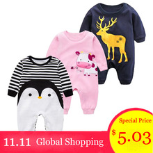 2018 Spring Autumn Baby Girl Brand Clothing Cotton Romper Clothes Children s Cartoon Penguin Baby
