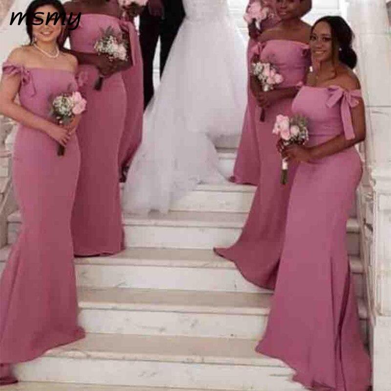 Off The Shoulder Shoulder Satin Long   Bridesmaid     Dresses   2019 Bow Ruched Floor Length Plus Size