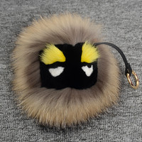 wholesale real fur raccoon monster pokemon keychain black Pom Pom ball key chain charm golf car perfect pendant keychains