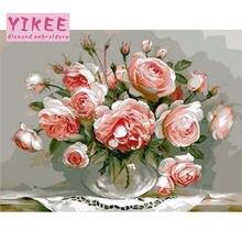 Yikee алмазная живопись цветы в вазах 5d вышивка мозаика картина