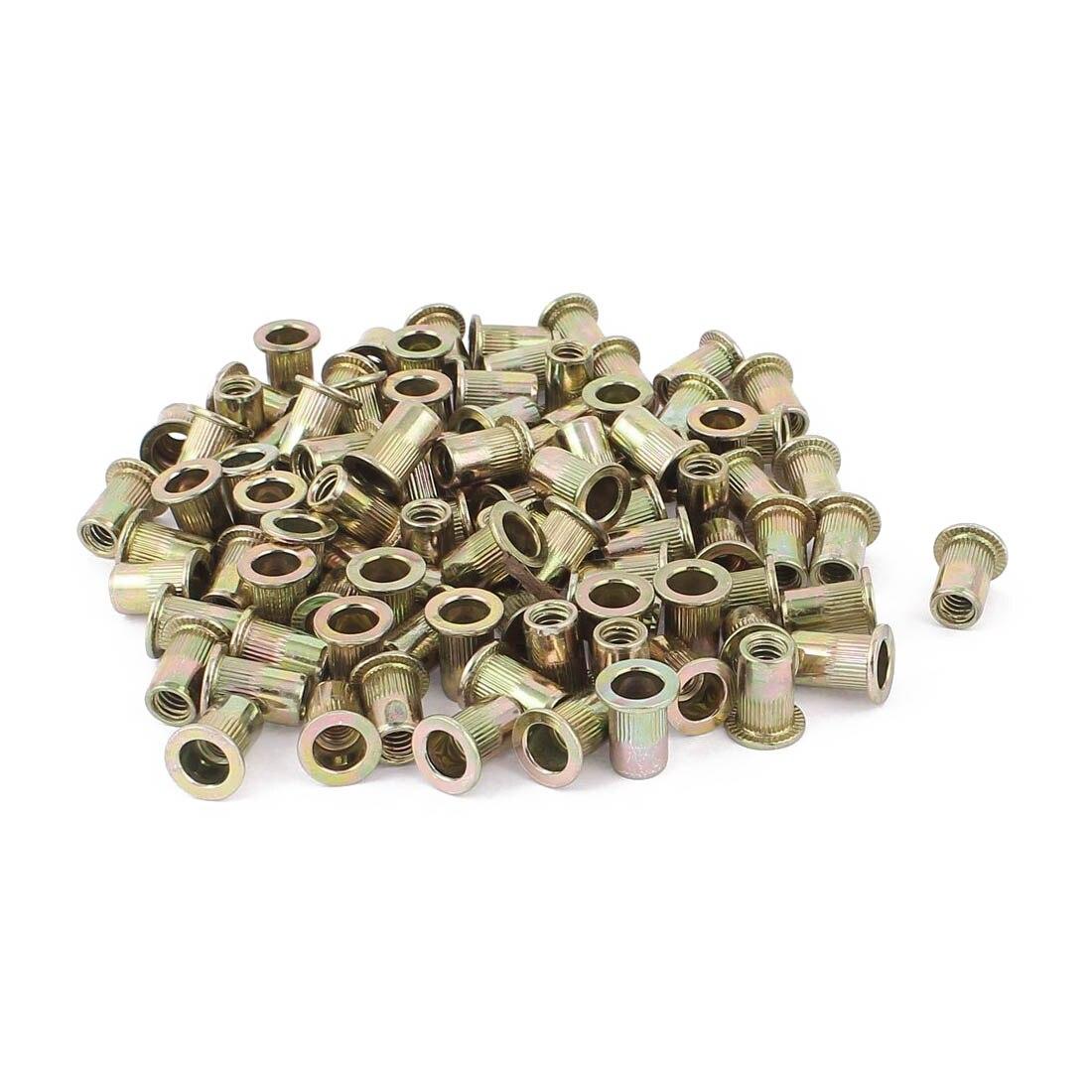 100 Pcs Zinc Plated Carbon Steel Rivet Nut Flat Head Insert Nuts 1/4-20UNC  Nuts Insert Reveting Rivet Nuts Collocation
