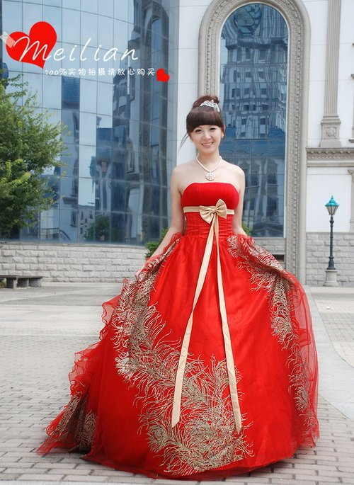High grade gold spray large red wedding dress red wedding bride ...