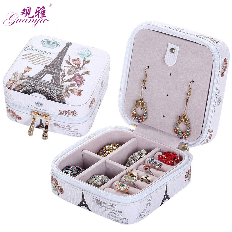 2019 Classical  High Grade Fashion Printed Leather Jewelry Box Protable Jewelry Casket  7 Color Love Gift Choice Cosmetic Box|fashion jewelry box|jewelry box|leather jewelry box - title=