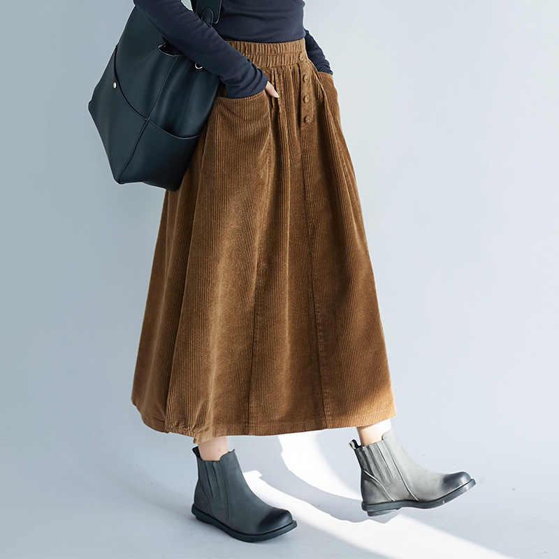 726837dbef9b1 7xl 6xl 5XL Plus size 2018 New Spring Women Cotton Corduroy Skirt Vintage  Elastic Waist Autumn