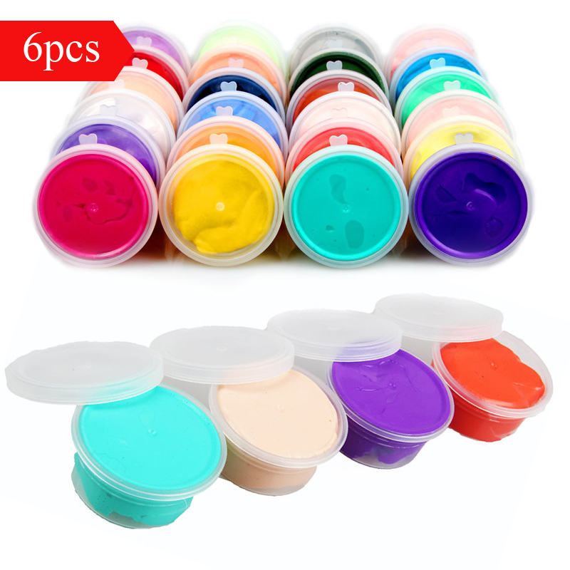 6pcs 180g Boxed Air Drying Super Light Plastic clay Plasticine Polymer Educational Soft Play Dough Kids Toy Random Color