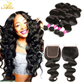 Ms Lula Hair brazilian virgin hair with closure 4bundles human hair bundles with closure brazilian body wave  hair extensions