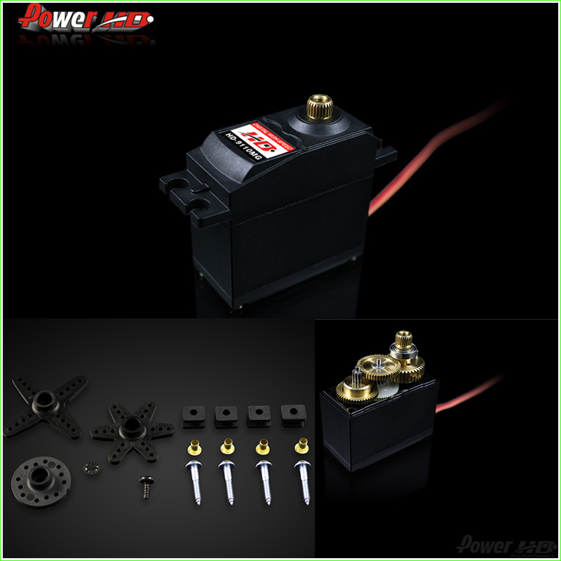 1Pcs Power HD-9110MG 10.5KG high torque metal gear digital servo 20-50cc gasoline engine applies 0.23 sec (4.8V) 0.19 sec (6.0V) 1pcs power hd 8315tg 16kg high torque metal gear digital servo suitable for bigfoot car 0 16 sec 4 8v 0 14 sec 6 0v
