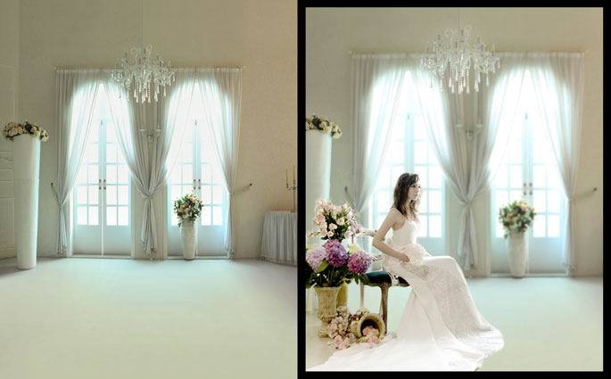 8x15ft indoor sunshine light window curtain lamp flowers wedding