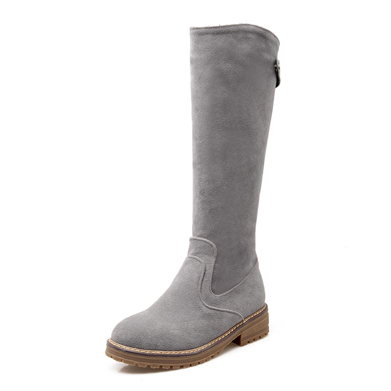 ФОТО  rivet decoration simple slip-on knight boots retro nubuck leather shoes women suede leisure knee-high martin boots dxj1578