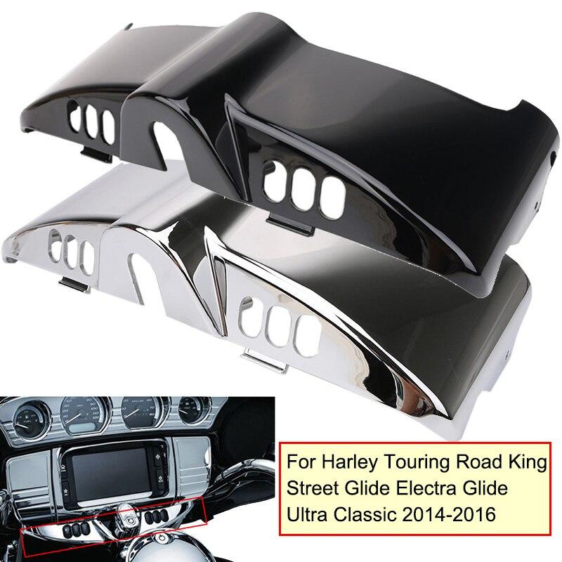 Noir/Chrome Intérieure Carénage Bouchon Pour Harley Touring Road King Street Glide Electra Glide Ultra Classique 2014 2015 2016