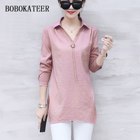 BOBOKATEER Blusas Feminina Ver O 2018 Plus Size Shirt Women Blouse Summer Casual Women Tops White