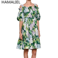 HAMALIEL Summer Dress 2017 Runway Designer Women Spaghetti Strap Slash Neck Green Print Floral High Waist