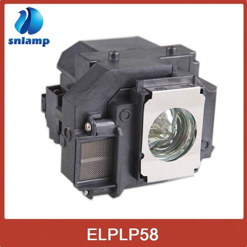 Snlamp csere projektor lámpa ház hosszú élettartammal ELPLP58 EB-S10 / EB-S9 / EB-S92 / EB-W10 / EB-W9 / EB-X10 / EB-X9 típushoz