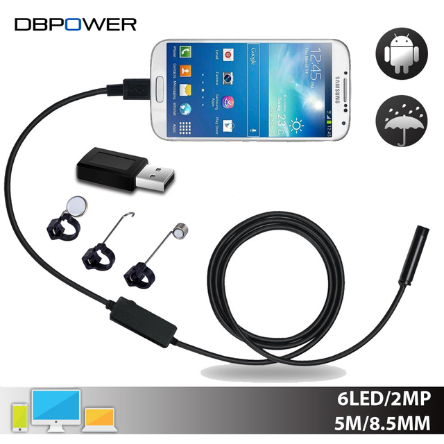 DBPOWER USB 2MP Mobile Endoscope Android 8.5MM Lens 2/5/10M Snake Camera Waterproof Inspection Borescope for Laptop with OTG/UVC